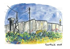 The apartheid wall seen from Aida refugee camp
